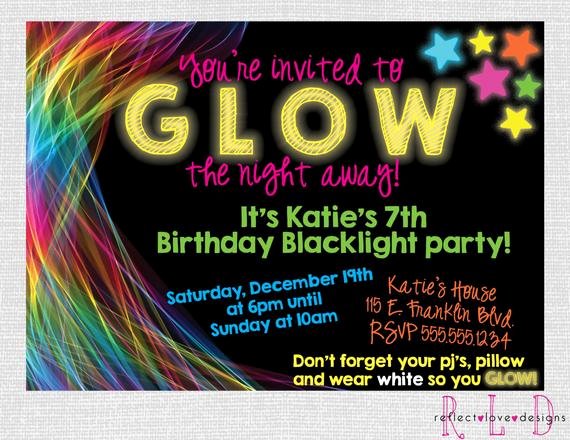 Black Light Party Invitation Templates Best Of Glow In the Dark Black Light Birthday Party by