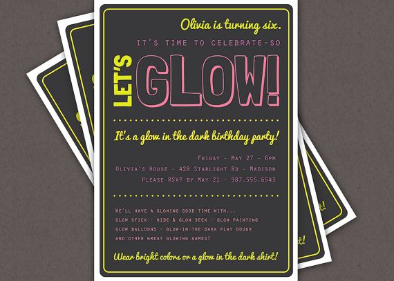Black Light Party Invitation Templates Elegant Glow In the Dark theme Birthday Party Invitation Custom