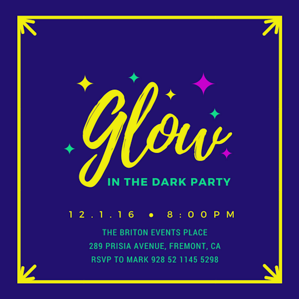 Black Light Party Invitation Templates Fresh 40 Glow In the Dark Party Ideas Canva