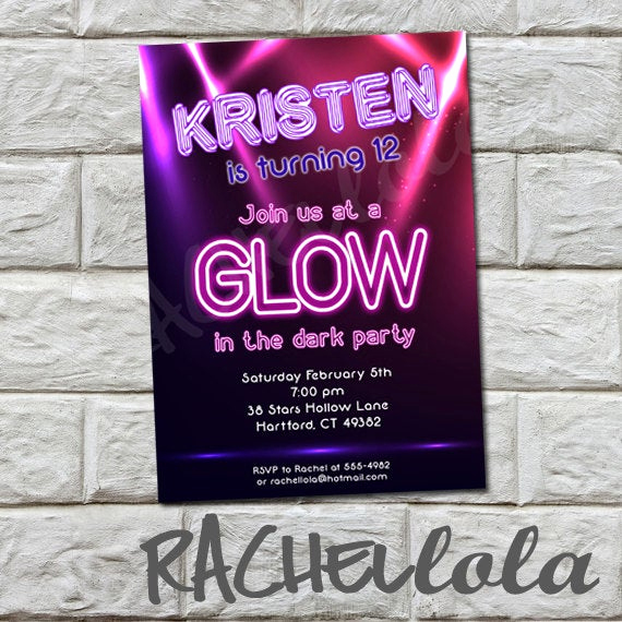 Black Light Party Invitation Templates Lovely Glow In the Dark Birthday Party Printable Invitation
