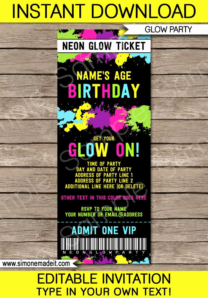 Black Light Party Invitation Templates Luxury 1000 Ideas About Glow Party On Pinterest
