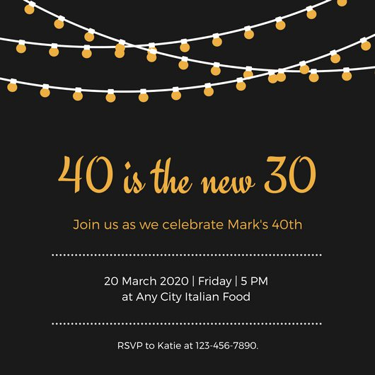 Black Light Party Invitation Templates New Black Gold White Hanging Lights Simple 40th Birthday