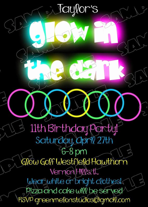Black Light Party Invitation Templates New Glow In the Dark Invitations Glow Party by Greenmelonstudios