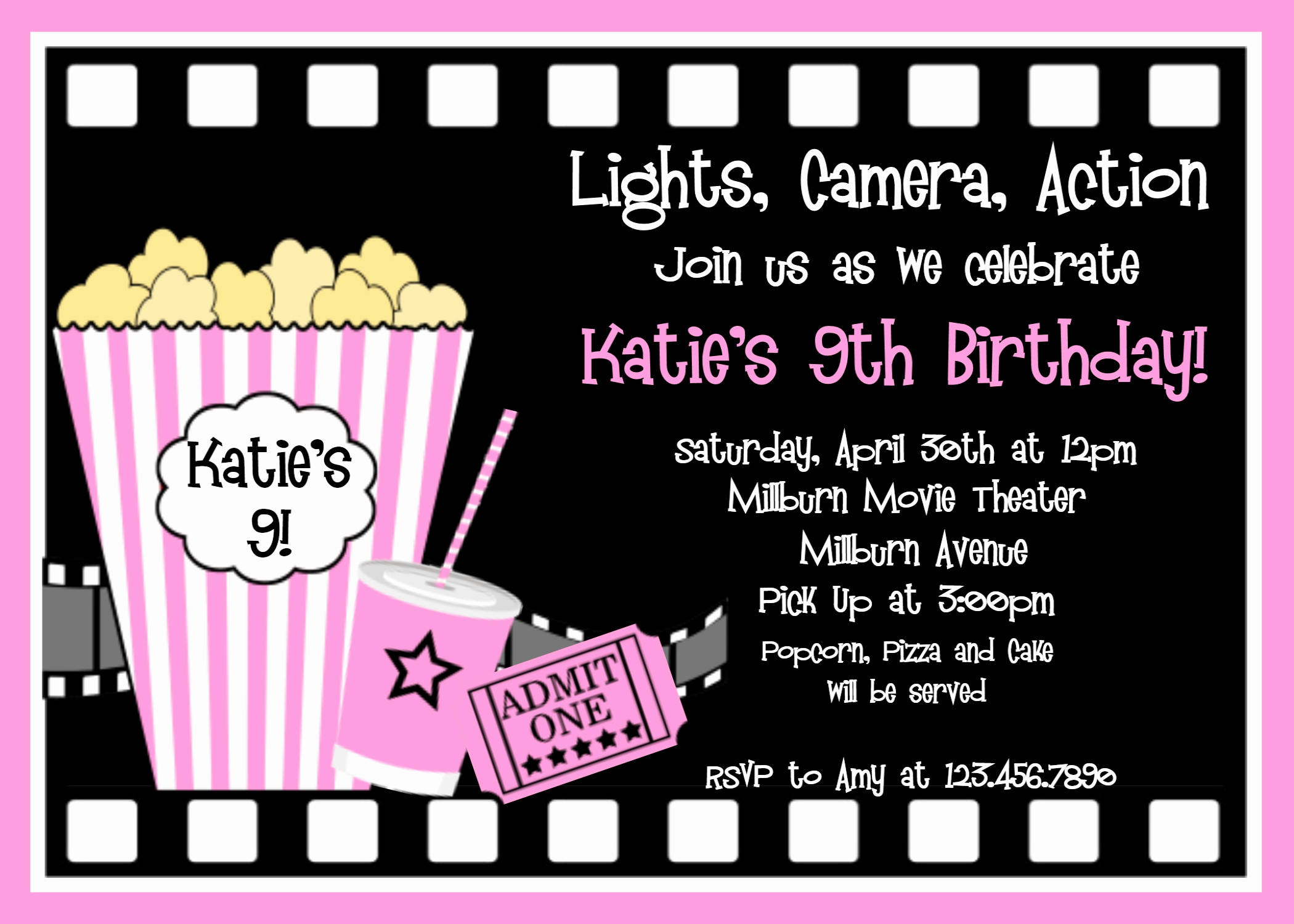 Black Light Party Invitation Templates New Printable Birthday Invitations Girls Movie Party