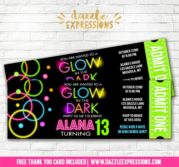 Black Light Party Invitation Templates Unique Printable Glow In the Dark Ticket Birthday Invitation