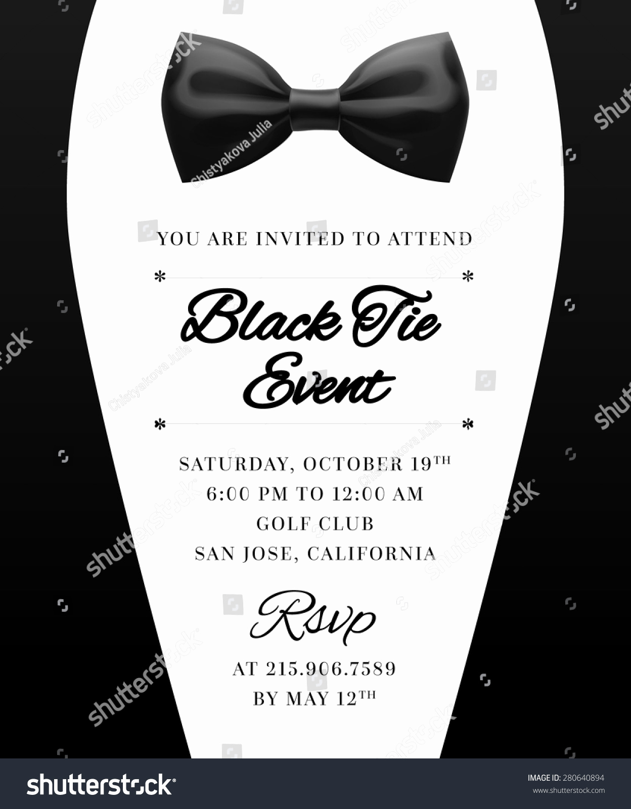 Black Tie event Invitation Awesome Elegant Vector Black Tie event Invitation Stock Vector