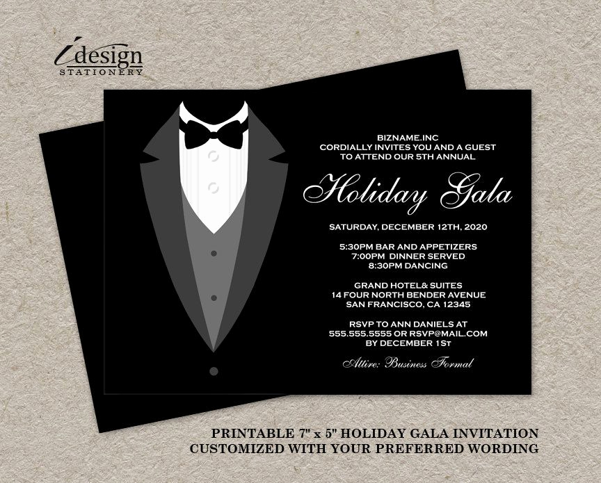 Black Tie event Invitation Awesome Holiday Gala Invitation