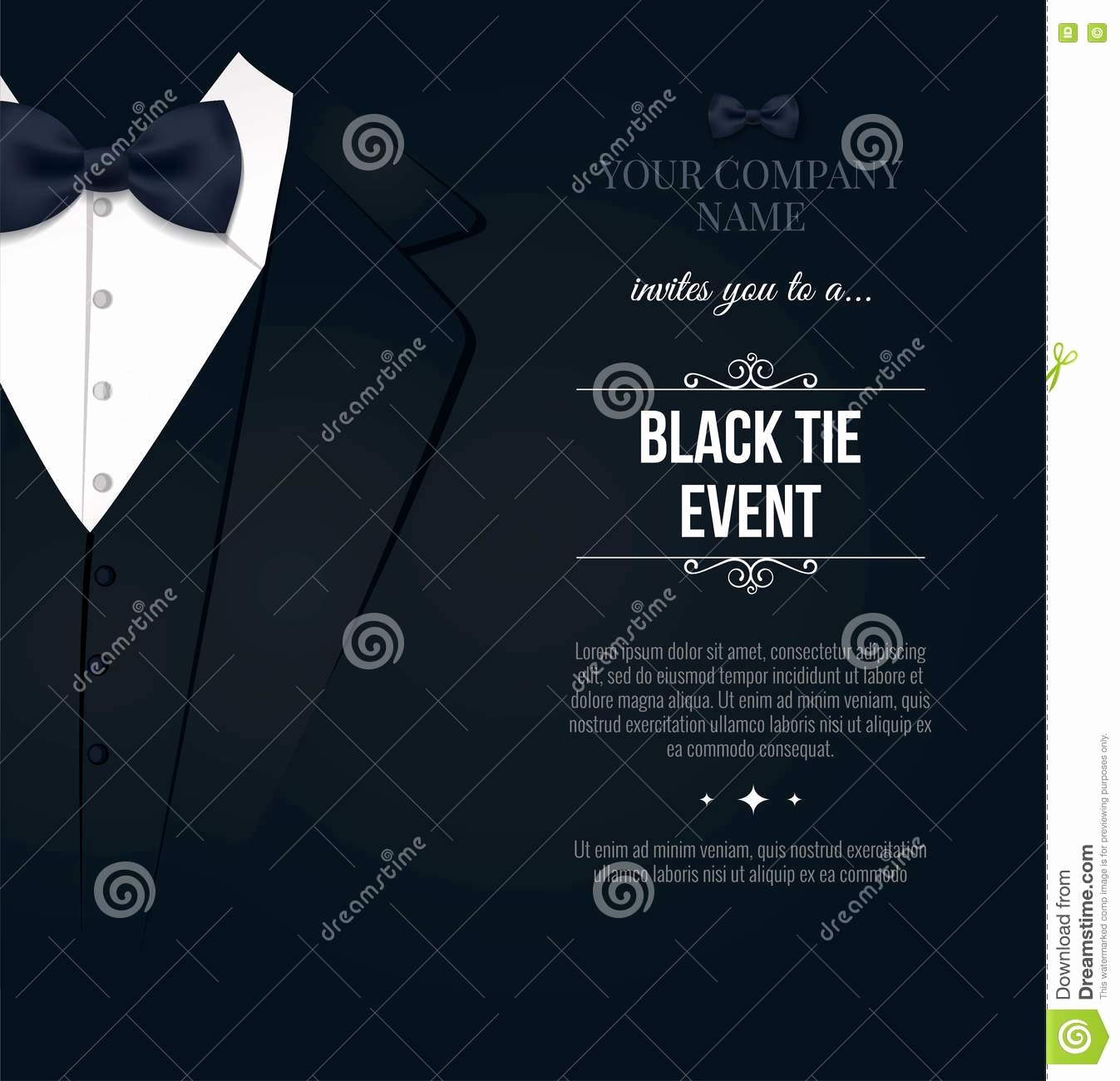 Black Tie event Invitation Beautiful Black Tie event Invitation Stock Illustration