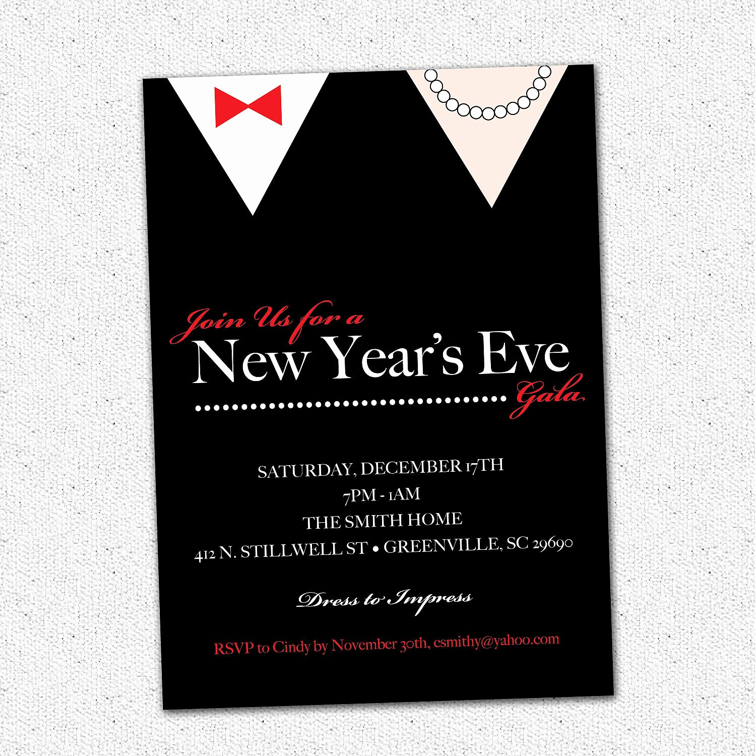 Black Tie event Invitation Beautiful New Years Eve Gala Ball Celebration Bash Party Invitation