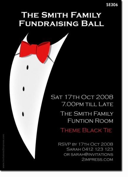 Black Tie event Invitation Beautiful Se306 Birthday Adult Black Tie La S Birthday