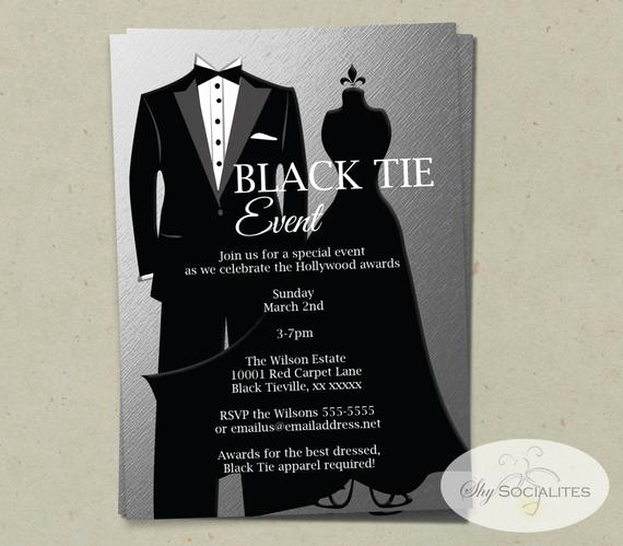 Black Tie event Invitation Best Of Silver Black Tie Invitation Instant Download Faux Foil