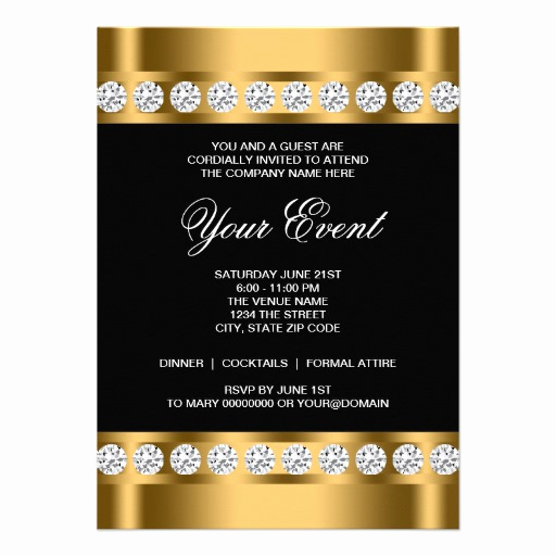 "Black Tie event Invitation Lovely Black Gold Black Tie Corporate Party Template 4 5"" X 6 25"