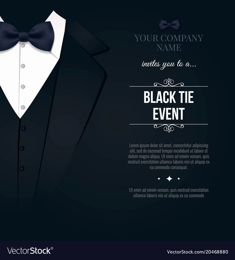 Black Tie event Invitation Luxury Black Tie event Invitation Elegant Black and Vector Image