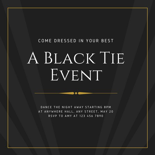 Black Tie event Invitation Luxury Charcoal & Gold Elegant Masculine Black Tie event