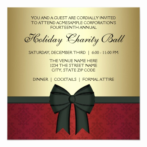 Black Tie event Invitation Luxury Red Damask Gold Black Tie Corporate Party Invitation