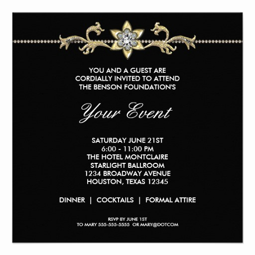 Black Tie event Invitation New Black and White Black Tie Corporate Party 5 25x5 25 Square