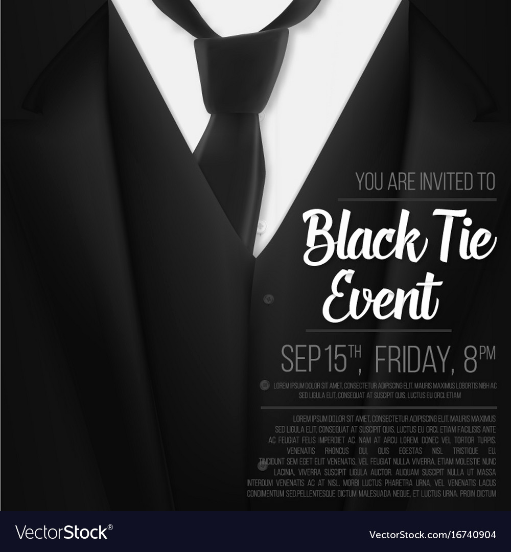 Black Tie event Invitation New Black Suit Black Tie event Invitation Template Vector Image