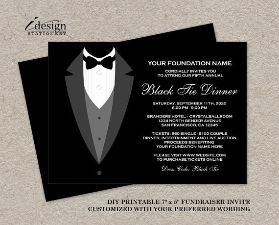 Black Tie event Invitation New Black Tie Dinner Fundraising Invitations Printable Tuxedo