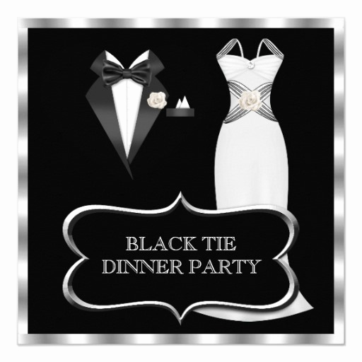 Black Tie event Invitation New formal Dinner Party White Black Tie Invitation