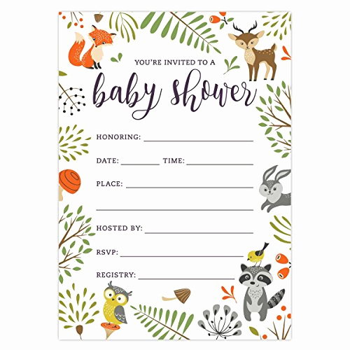 Blank Baby Shower Invitation Template Best Of Woodland Baby Shower Invitations with Owl and forest