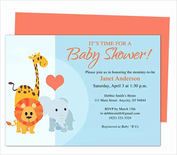 Blank Baby Shower Invitation Template Elegant 68 Microsoft Invitation Template Free Samples Examples