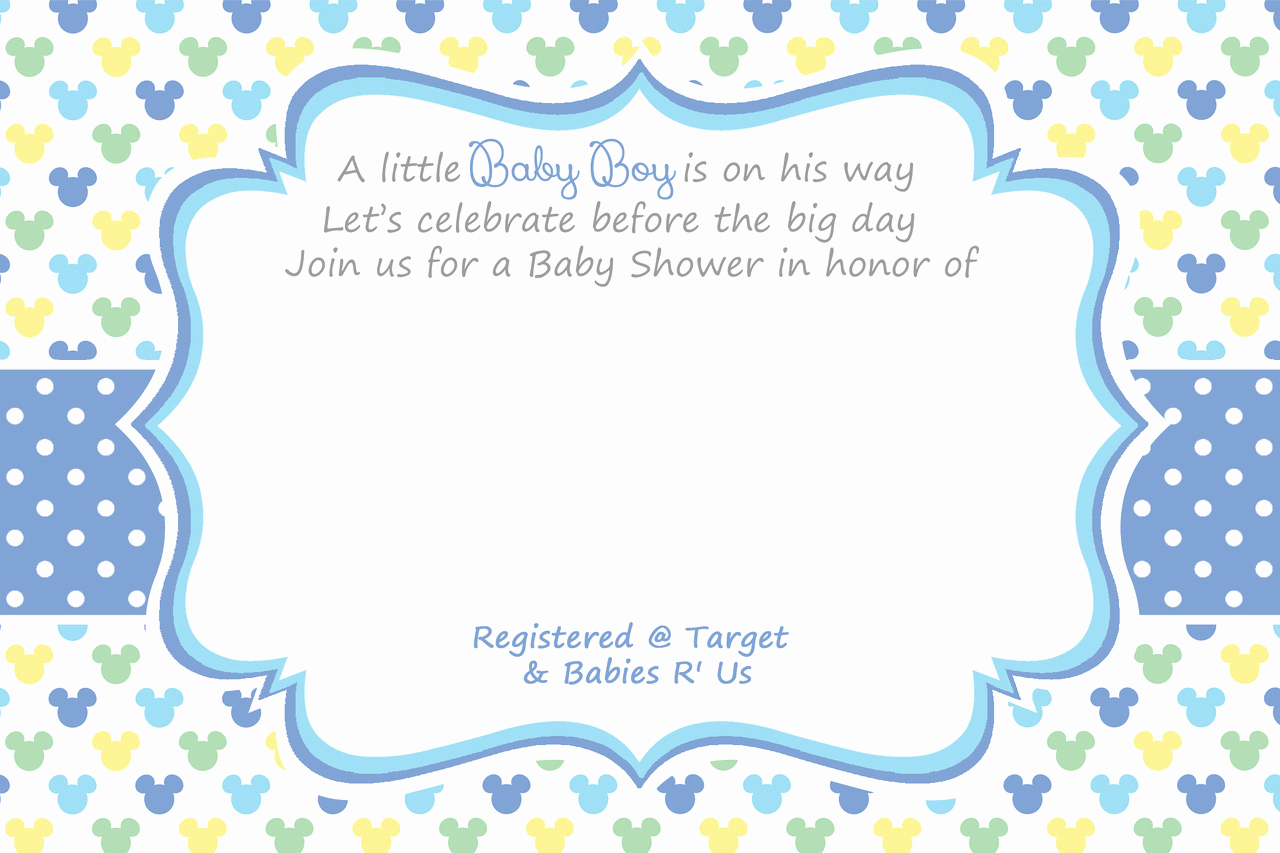 Blank Baby Shower Invitation Template Inspirational Free Mickey Mouse 1st Birthday Invitations – Free