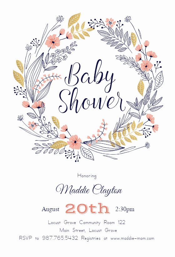 Blank Baby Shower Invitation Template Lovely Friendship Wreath Baby Shower Invitation Template Free