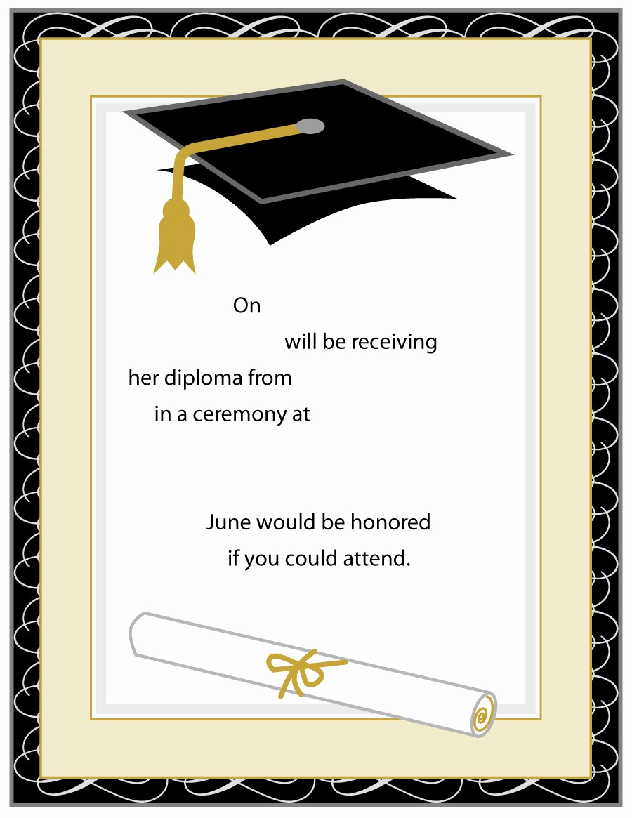 Blank Graduation Invitation Templates Elegant 40 Free Graduation Invitation Templates Template Lab
