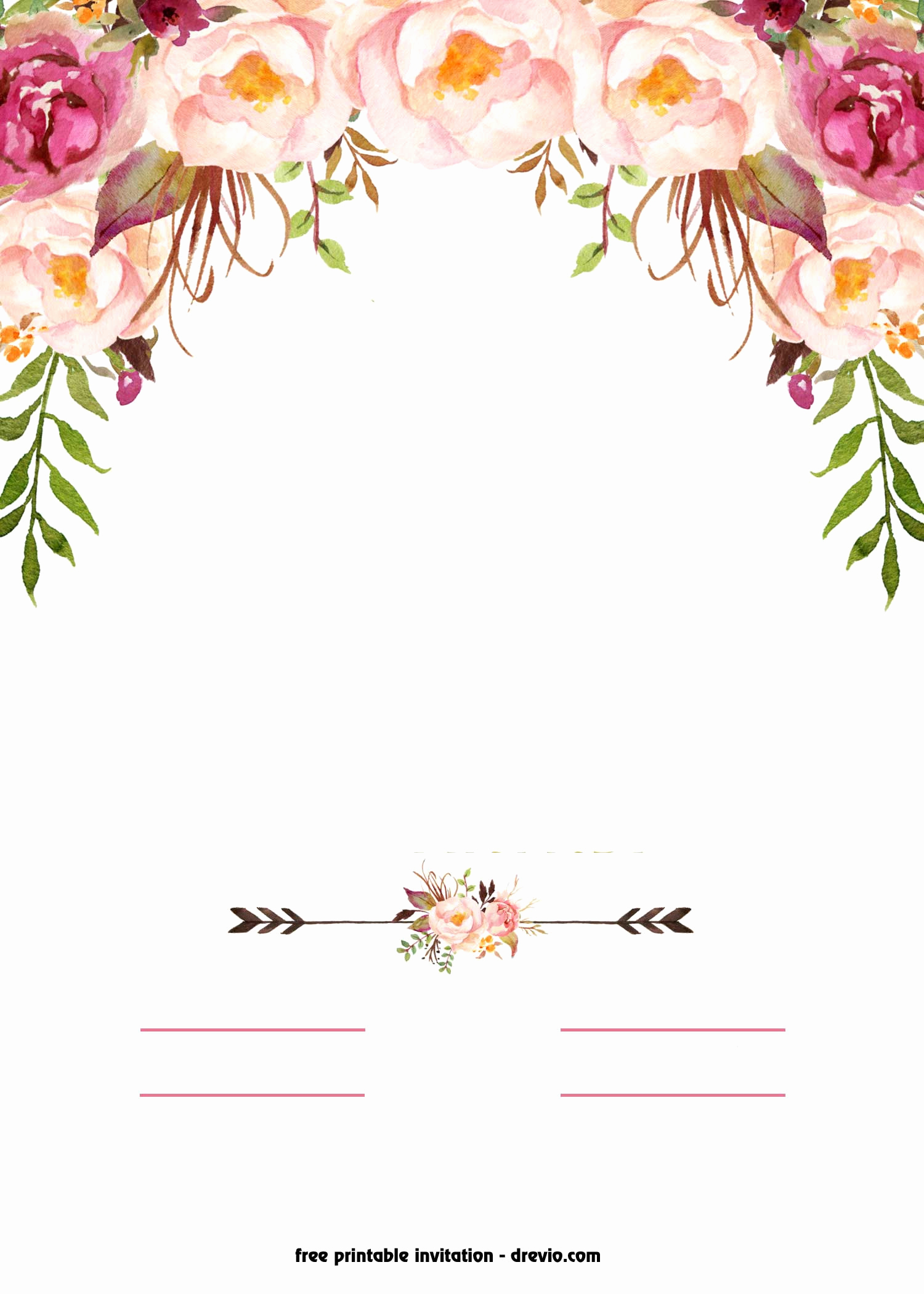 Blank Invitation Templates Free Download Inspirational Free Printable Boho Chic Flower Baby Shower Invitation