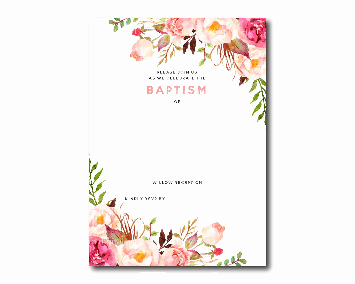 Blank Invitation Templates Free Download Lovely Awesome Free Template Free Printable Baptism Floral