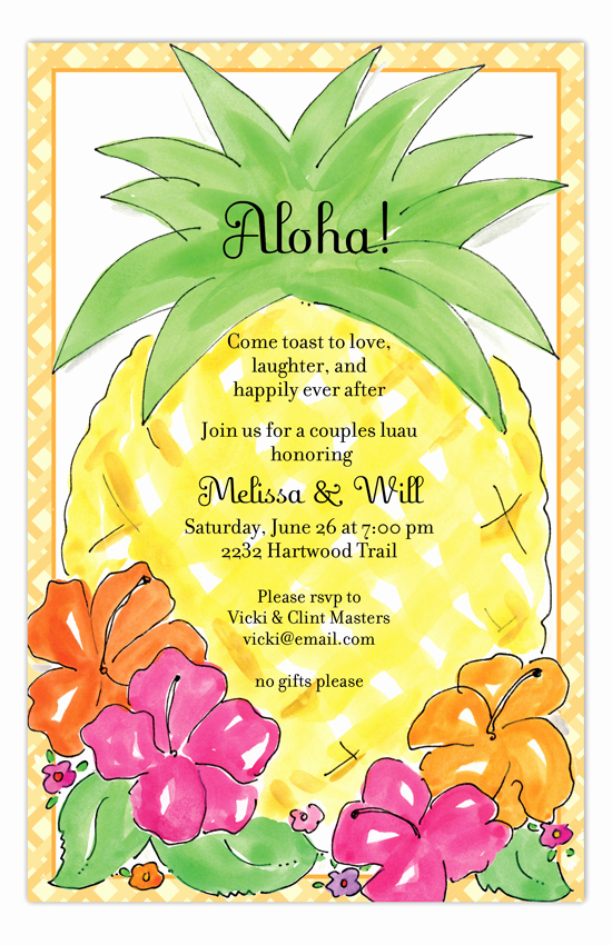 Blank Luau Invitation Borders Beautiful Aloha Pineapple Luau Invitations
