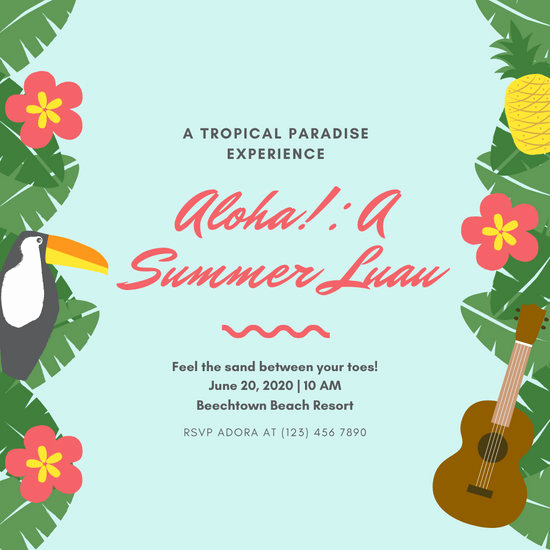 Blank Luau Invitation Borders Beautiful Customize 75 Luau Invitation Templates Online Canva