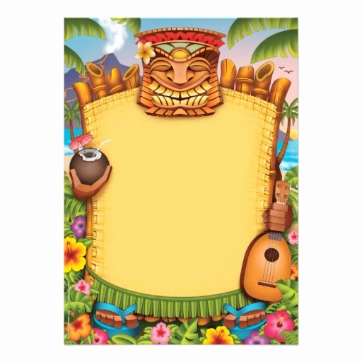 Blank Luau Invitation Borders Beautiful Hawaiian Blank Invitation Background Undangan Unik