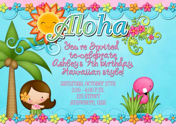 Blank Luau Invitation Borders Beautiful Hawaiian Luau Birthday Party Invitation