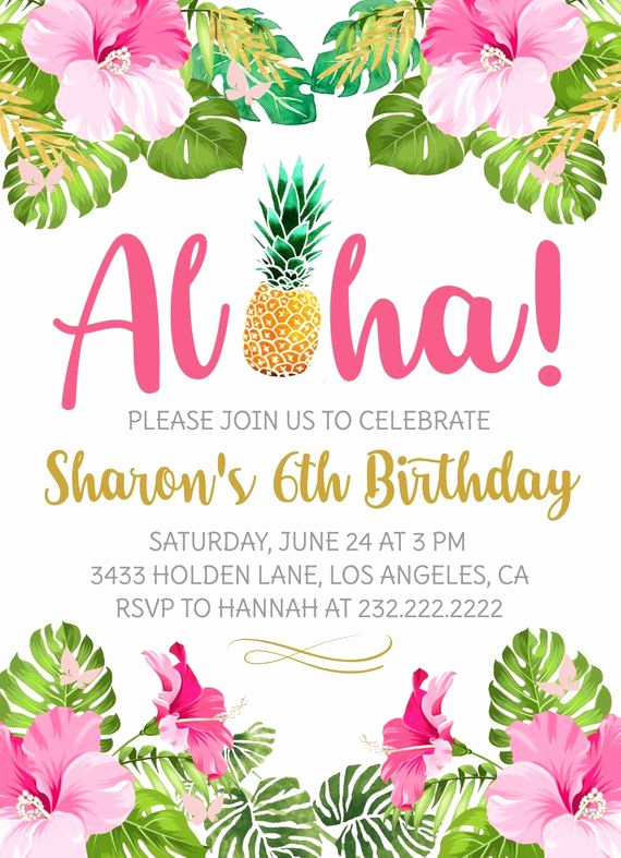 Blank Luau Invitation Borders Inspirational Aloha Birthday Party Invitation Hawaiian Luau Invite
