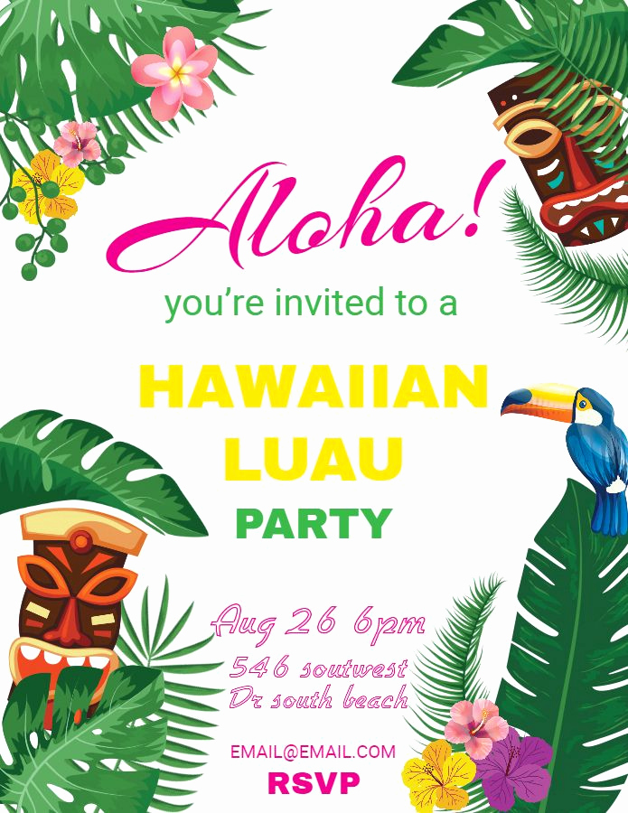 Blank Luau Invitation Borders Inspirational Hawaiian Party Invitations Luau Flyer Template Design
