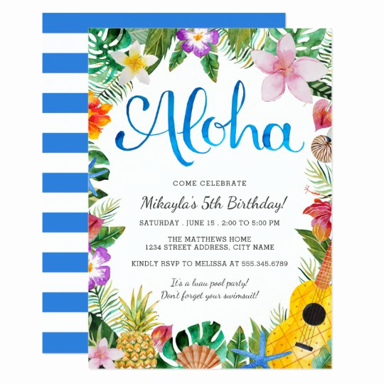Blank Luau Invitation Borders Inspirational Watercolor Tropical Luau Birthday Party Invite