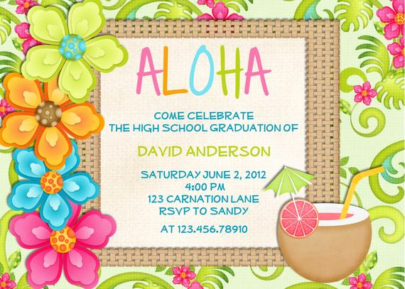 Blank Luau Invitation Borders New Luau Birthday Invitation Sweet 16 Tropical Hawaiian Hula Party