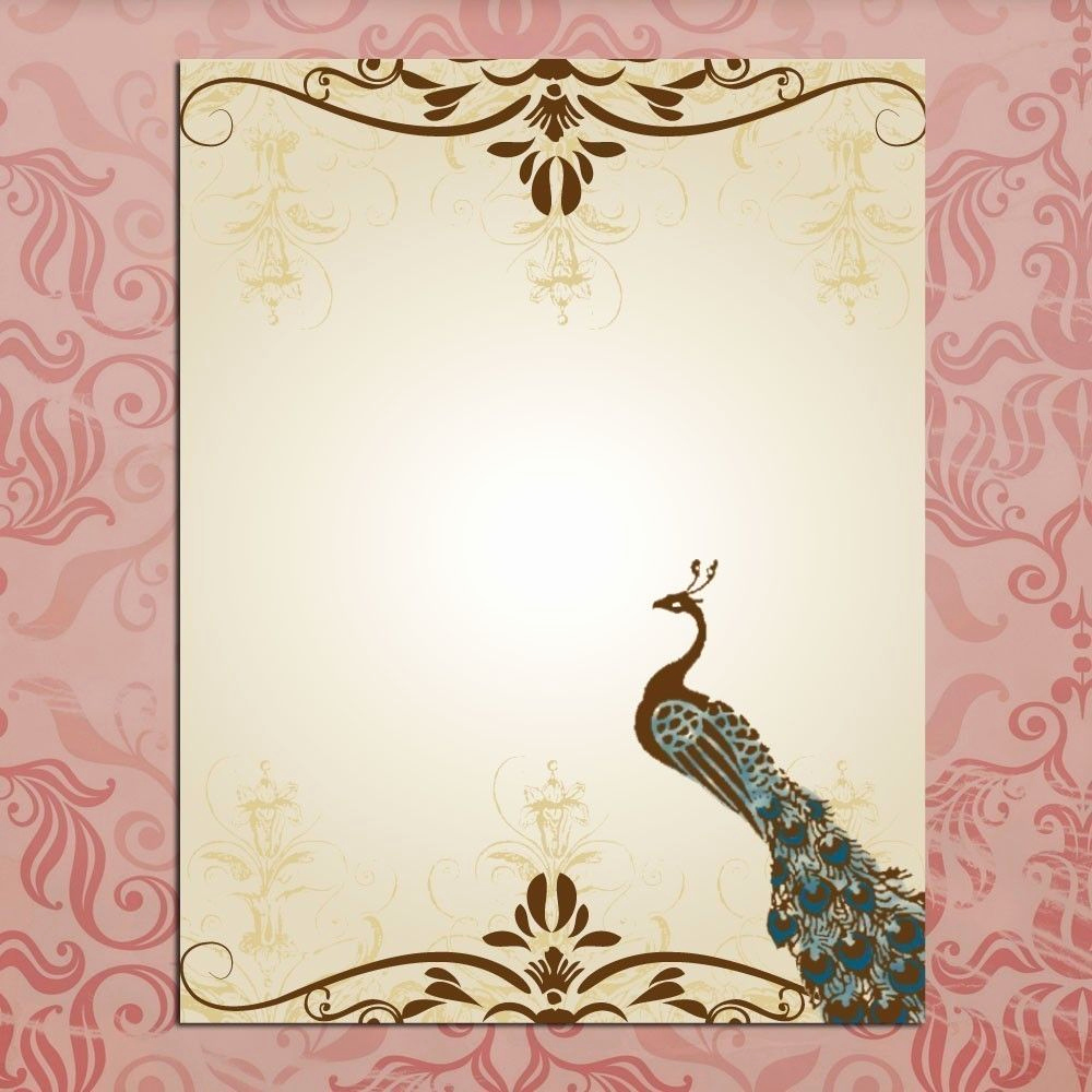 Blank Wedding Invitation Templates Elegant Blank Wedding Invitations Peacock Template