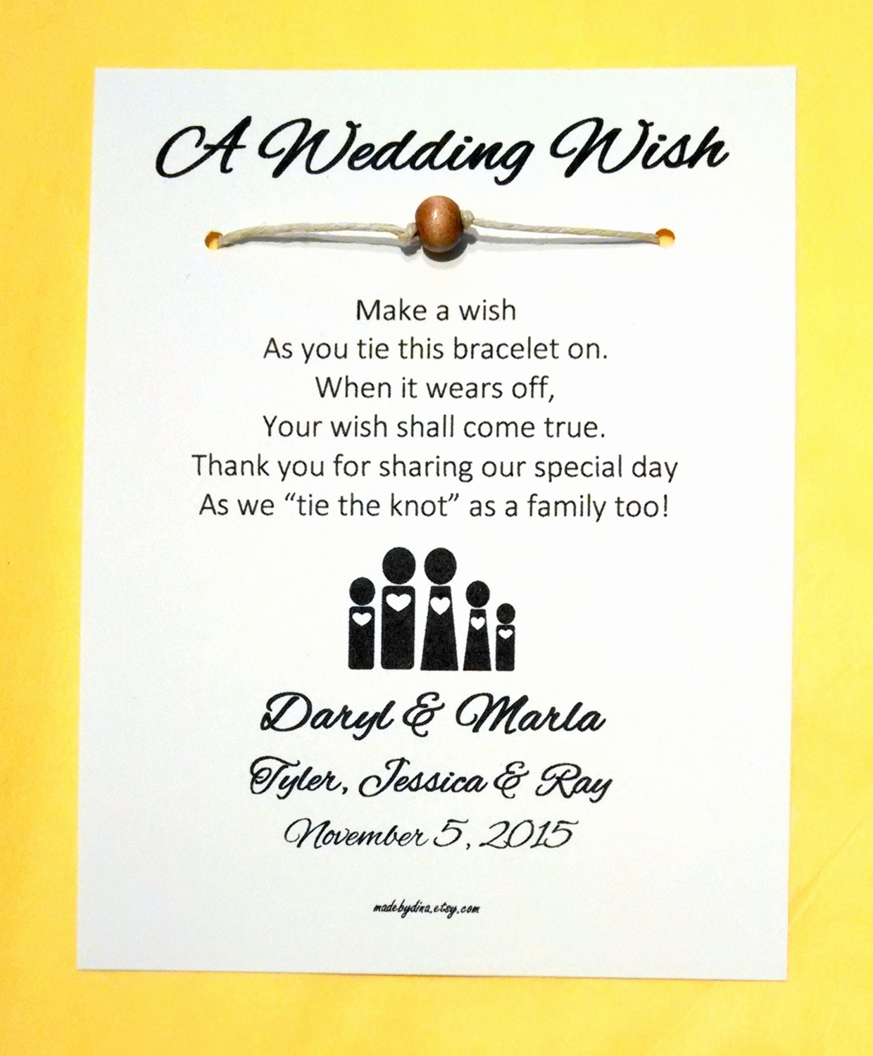 Blended Family Wedding Invitation Wording Best Of Blended Family A Wedding Wish Unity Bead Wish Bracelet