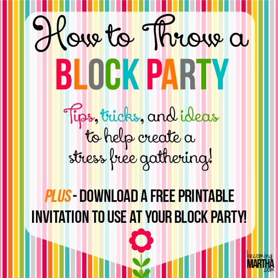 Block Party Invitation Ideas Beautiful How to Throw A Block Party Printable Invitation Template