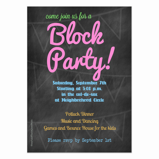 Block Party Invitation Template Free Awesome Chalkboard Block Party Invitation Invitations & Cards On