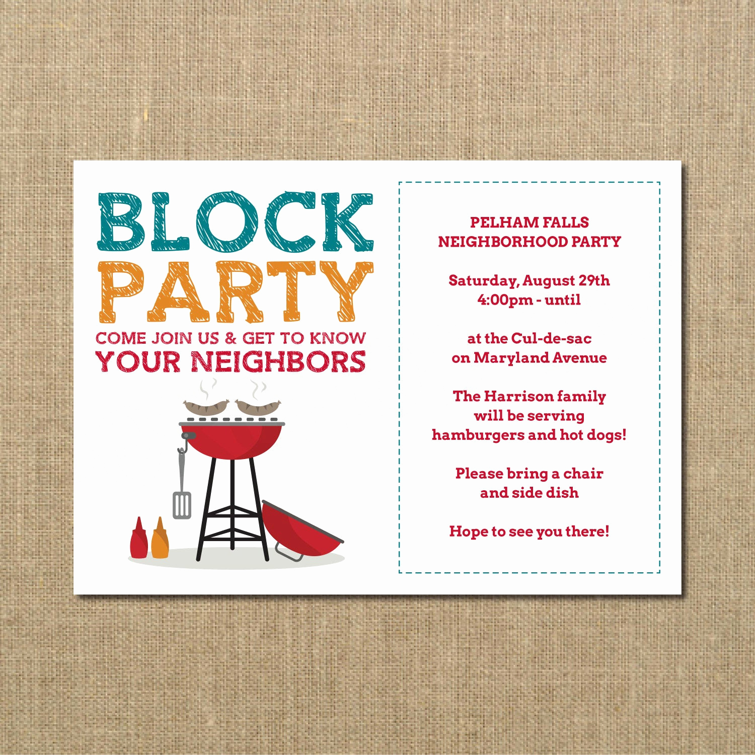 Block Party Invitation Template Lovely Neighborhood Block Party Cookout Invitation Grilling Out