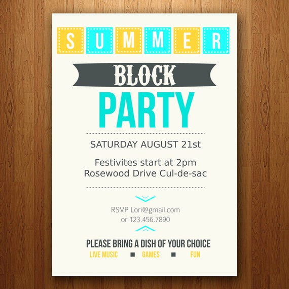 Block Party Invitation Template Luxury Items Similar to Customizable Summer Party Invitation