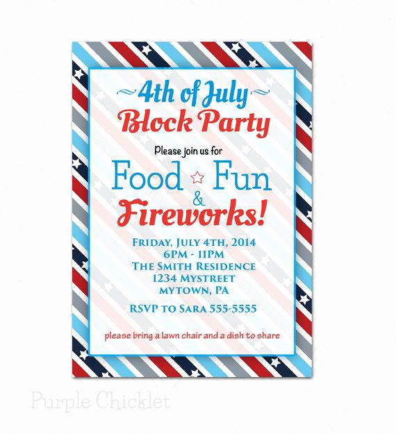 Block Party Invitation Templates Awesome Block Party 4th Of July Invitation Patriotic Red by
