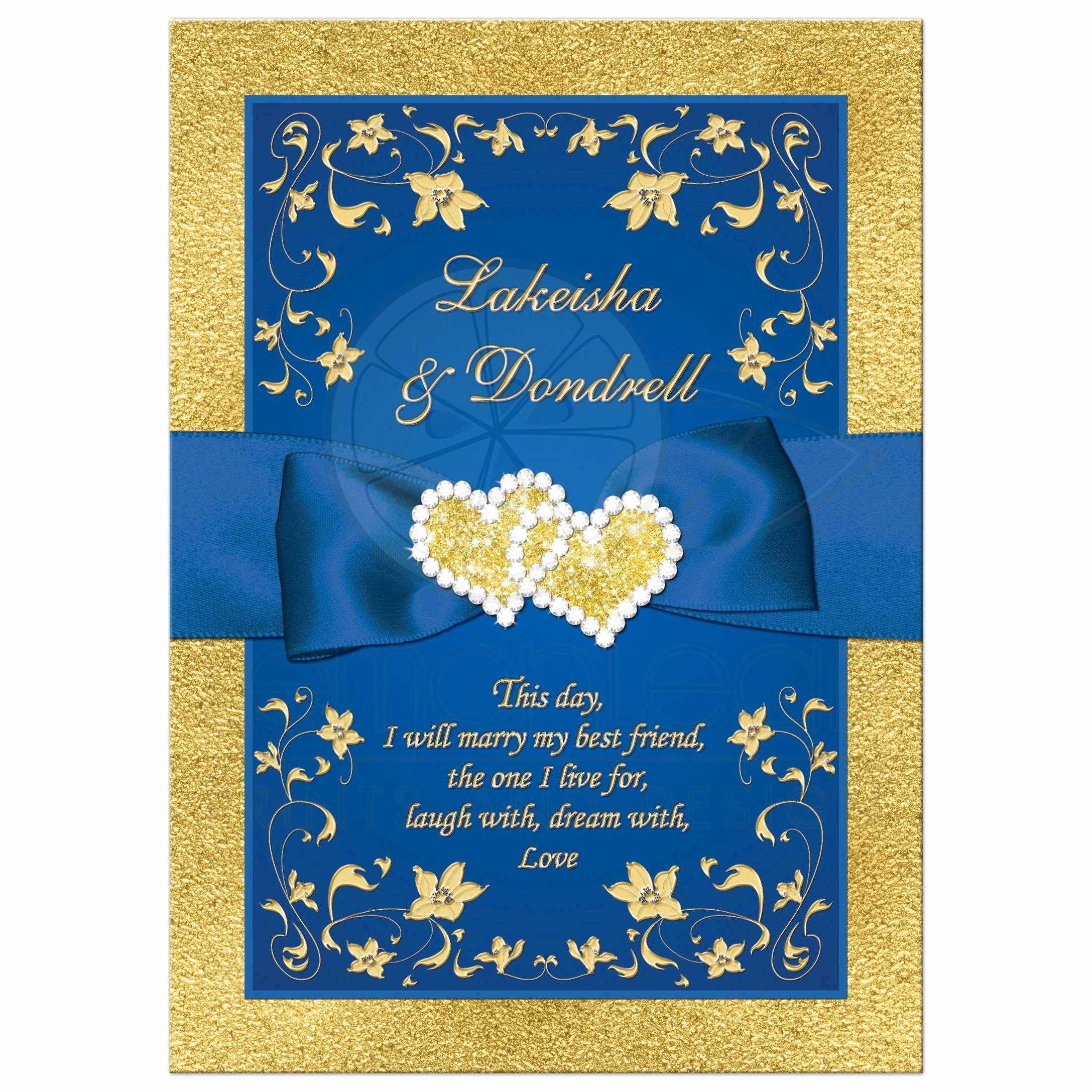 Blue and Gold Invitation Template Awesome Wedding Invitation Royal Blue Faux Gold Foil Floral