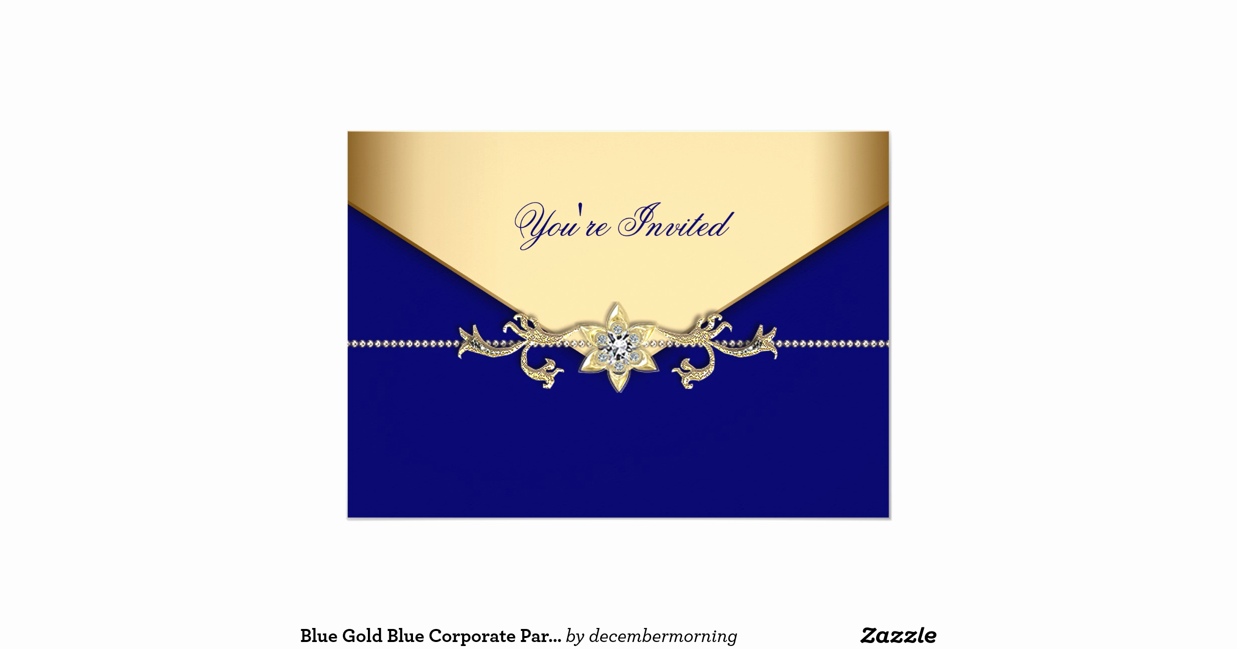 "Blue and Gold Invitation Template Beautiful Blue Gold Blue Corporate Party event Template 5"" X 7"