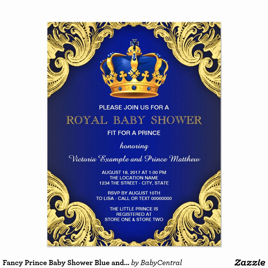 Blue and Gold Invitation Template Best Of Fancy Prince Baby Shower Blue and Gold Invitation