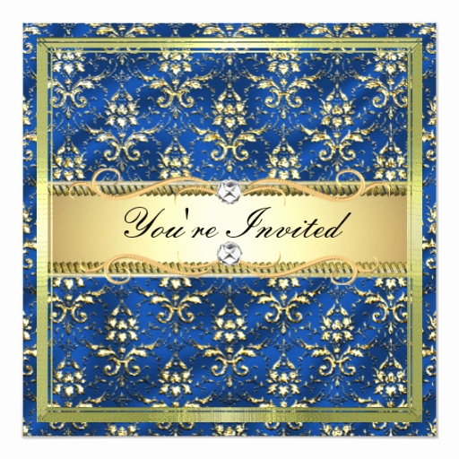 Blue and Gold Invitation Template Elegant D2 Elegant Gold Royal Blue Damask Template Invitation