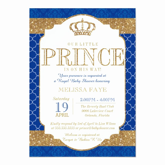 Blue and Gold Invitation Template Elegant Little Prince Royal Blue Gold Baby Shower Card